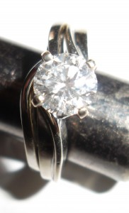 Custom made 14kt white gold wedding band and engagement ring set