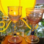 Hand blown wine goblets